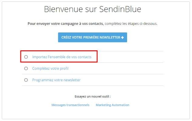 Import contact Sendinblue