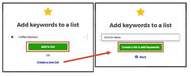 Création de listes de mots-clés