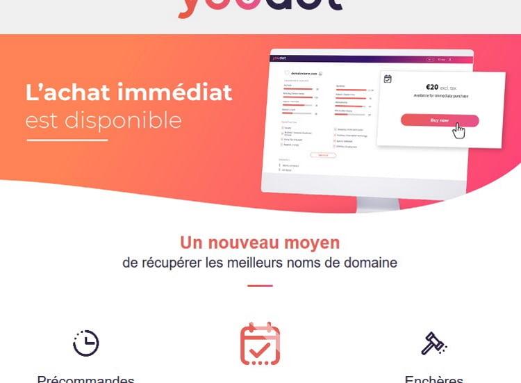 Achat de noms de domaine avec youdot