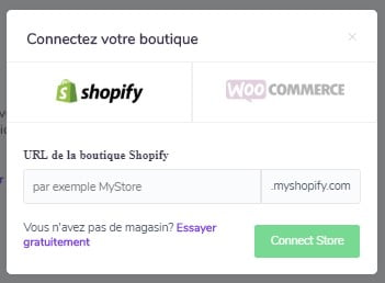 Connection Shopify avec Spocket