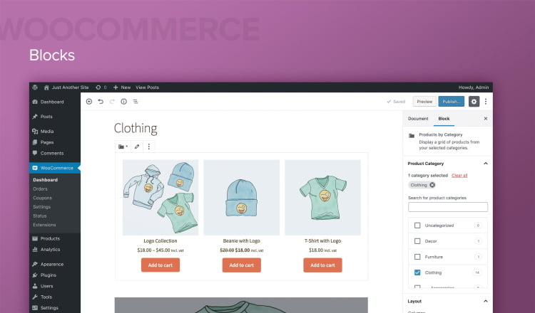 Interface Woocommerce