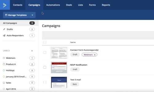 Interface ActiveCampaign