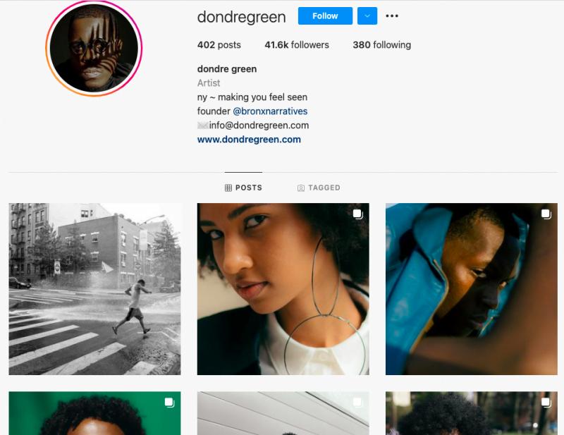 Exemple d'un compte photographe Instagram