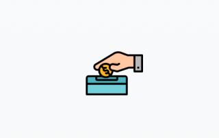 Logo de main qui donne de largent