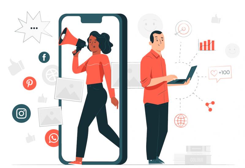 Marketing média sociaux illustration